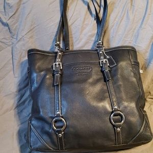 Black Coach Leather Tote
